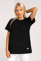 Черная женская футболка оверсайз в цветах черный, молочный, песочный, красный XS, S, M, L