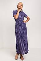 Длинное синее платье-рубашка в горох с коротким рукавом размер XS
