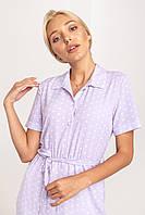 Лавандовое платье макси длины в белый горошек из ткани супер софт XS, S