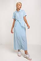 Повседневное летнее платье на пуговицах под пояс в размерах и цветах XS, S, M, L