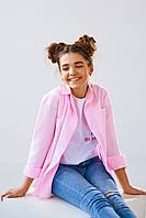 Розовая блуза на пуговицах для девочки школьницы размеры 146, 152, 158, 164