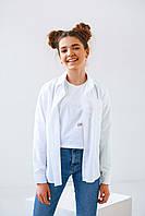 Нарядная белая однотонная блуза для девочки с рубашечным воротником и рукавами размер 146