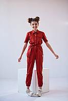 Брючный летний комбинезон для девочки подростка красный и бежевый рост  146