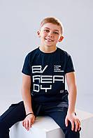 Детская футболка  темно-синяя на каждый день 140, 146