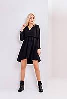 Красивое черное шифоновое коротенькое платье для хрупких девочек XS, S