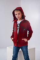 Теплая детская бордовая  кофта худи для мальчика утепленная  на байке 134,140, 146