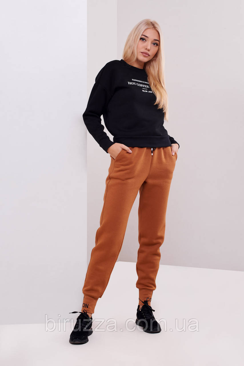 Женские штаны утеплитель байка кирпичного цвета размер 46