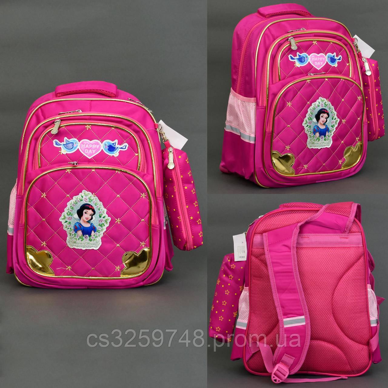 Рюкзак 663 / 555-471, 3 отделения, 3 кармана, пенал, ортопедическая спинка, розовый