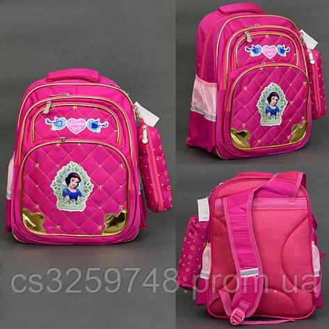 Рюкзак 663 / 555-471, 3 отделения, 3 кармана, пенал, ортопедическая спинка, розовый, фото 2
