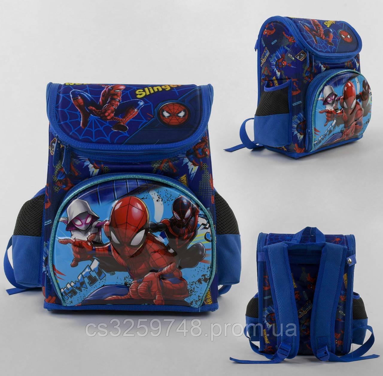 Рюкзак детский школьный каркасный Spider-Man С 43559 с 3D принтом,3 карманами и ортопедической спинкой