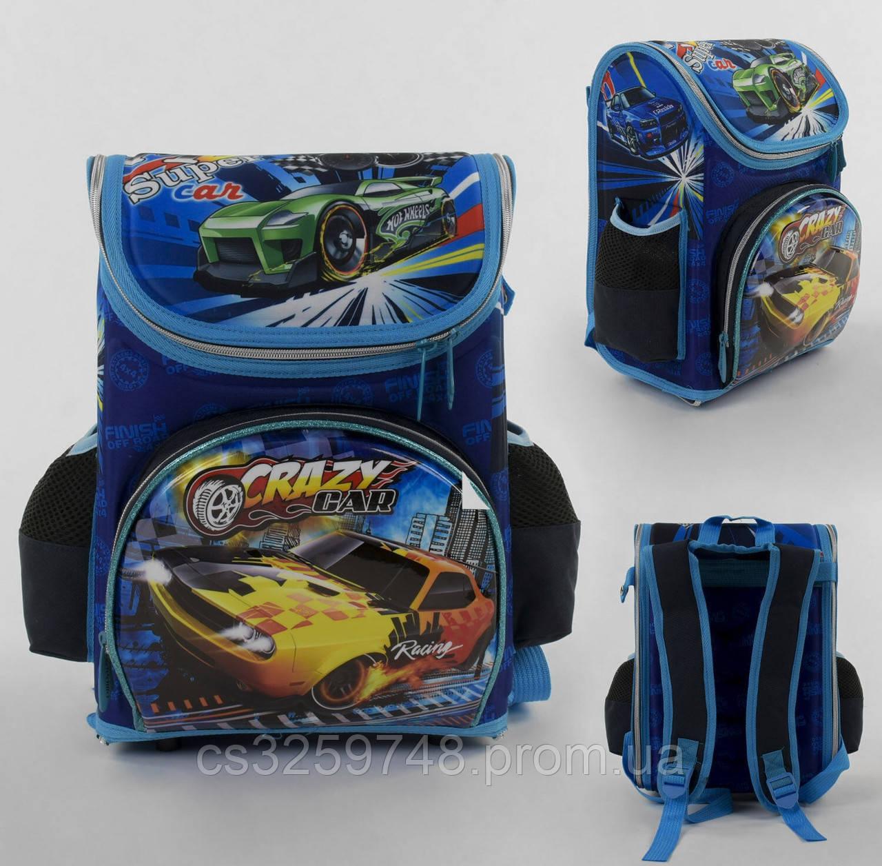 Рюкзак детский школьный каркасный С 43560 с 3D принтом, 3 карманами и ортопедической спинкой