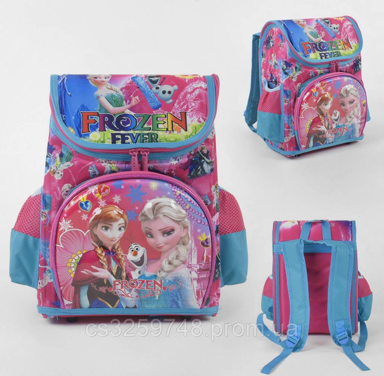 """Рюкзак детский школьный """"Принцессы Frozen"""" С 43558 с 3D принтом, 3 карманами и ортопедической спинкой"""