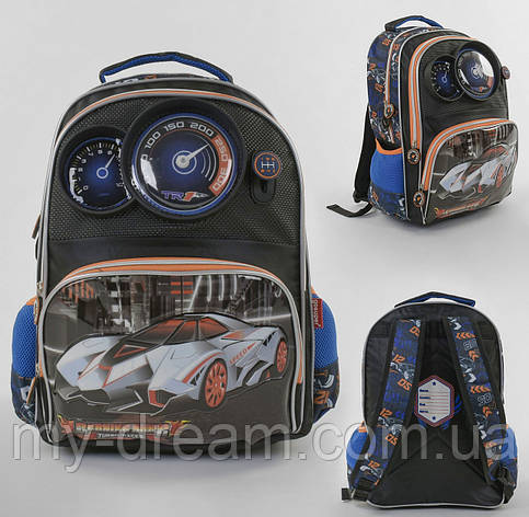 Рюкзак детский школьный Панель-спидометр С 43629 с 2 карманами, мягкой спинкой и принтом, фото 2