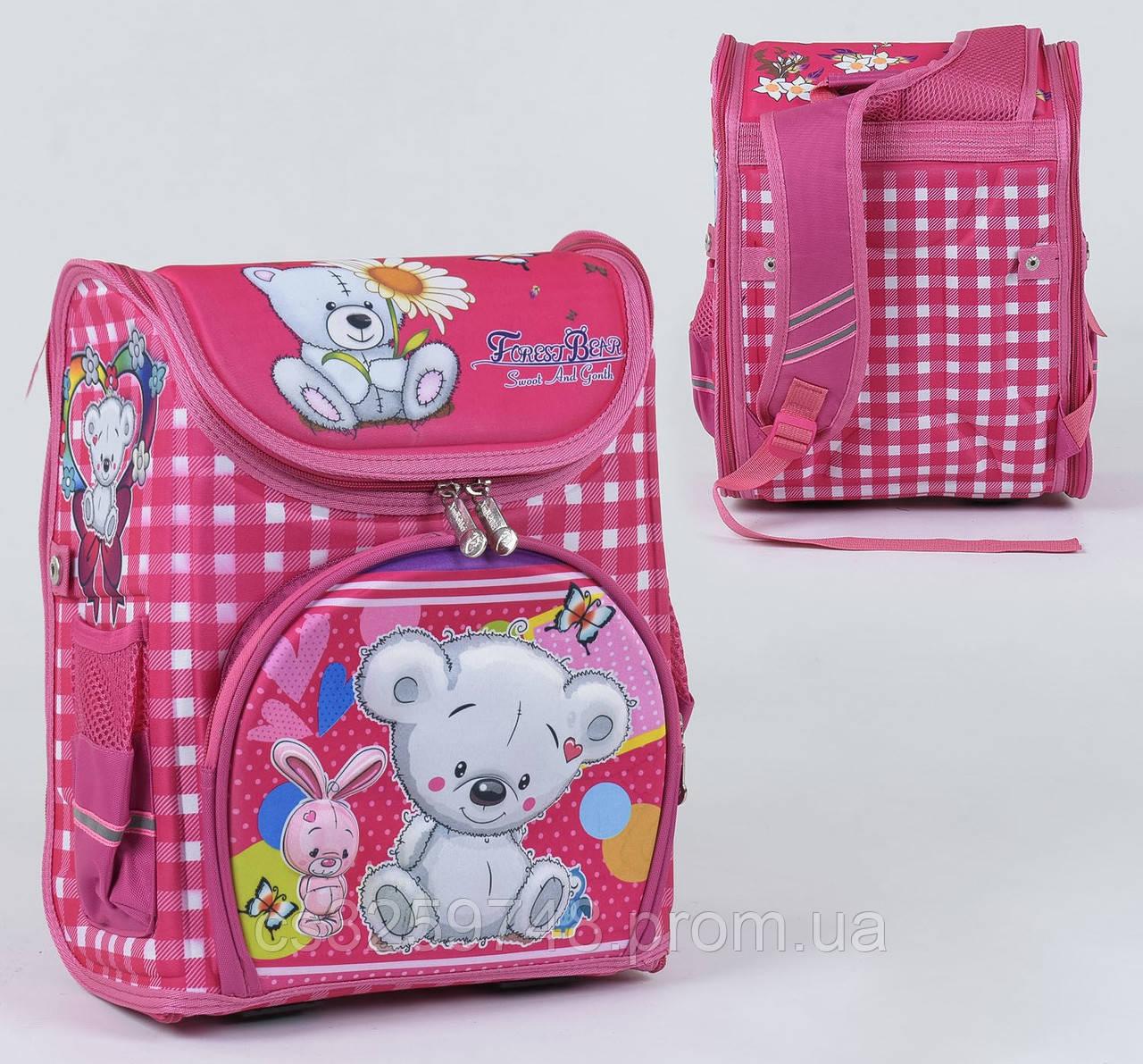 Школьный каркасный рюкзак С 36164 с ортопедической спинкой на 1 большое отделение и 3 кармана, 3D принт