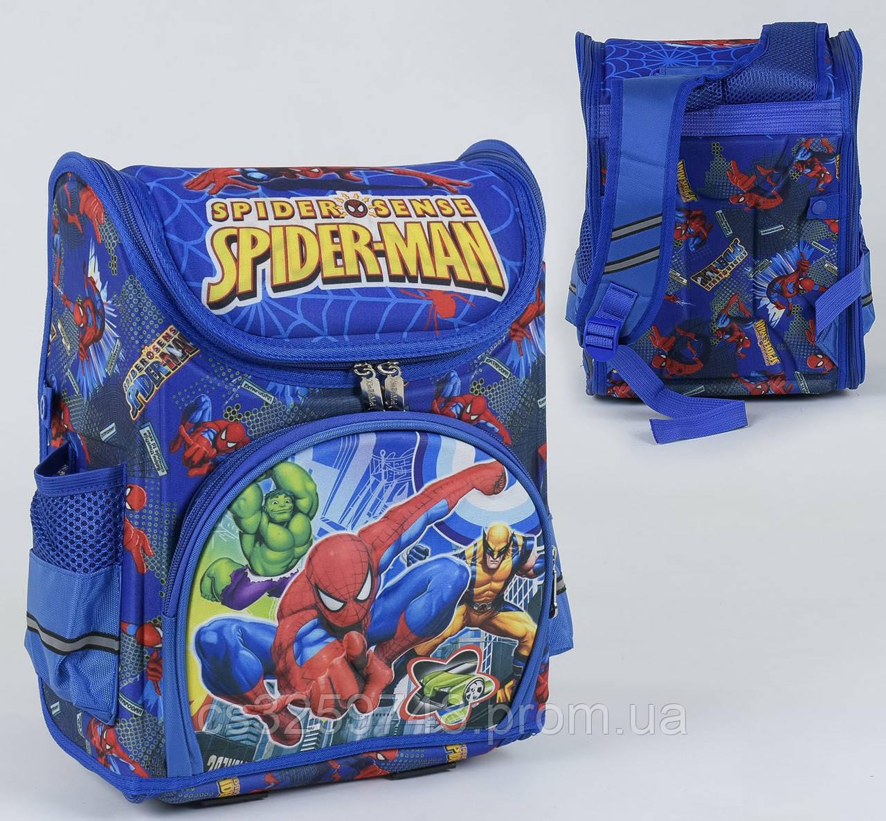 Школьный каркасный рюкзак Человек-паук С 36162 с ортопедической спинкой на 1 большое отделение, 3D принт