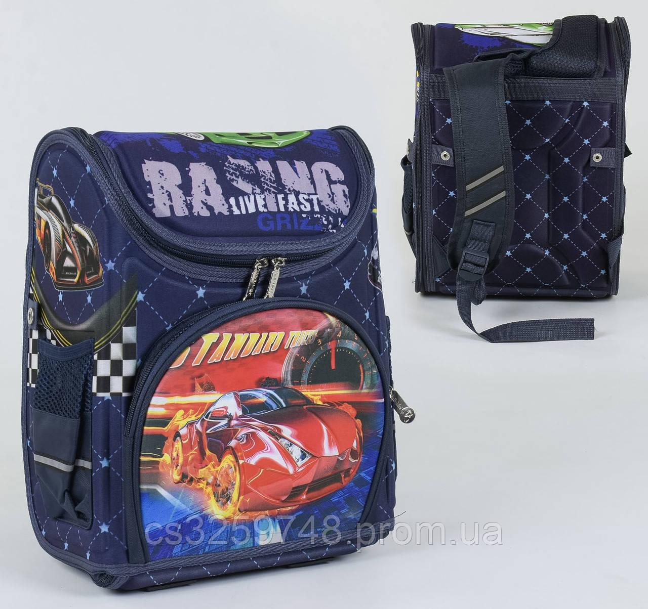 Школьный каркасный рюкзак С 36158 с ортопедической спинкой на 1 большое отделение и 3 кармана, 3D принт