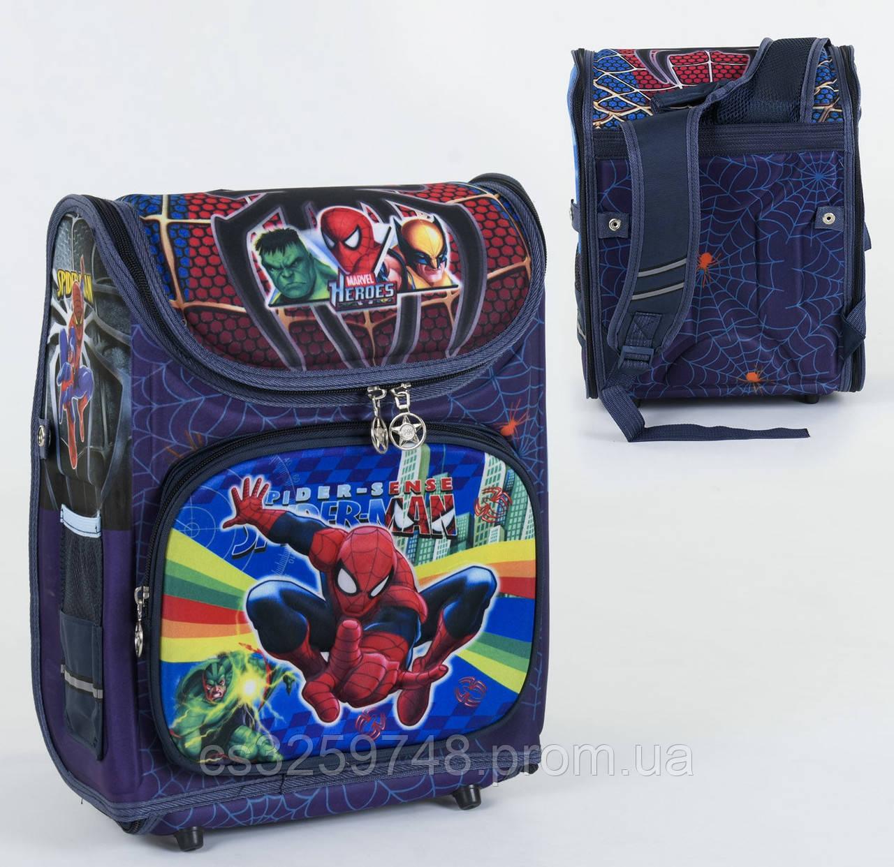 Школьный каркасный рюкзак Человек-паук С 36173 с ортопедической спинкой на 1 большое отделение, 3D принт