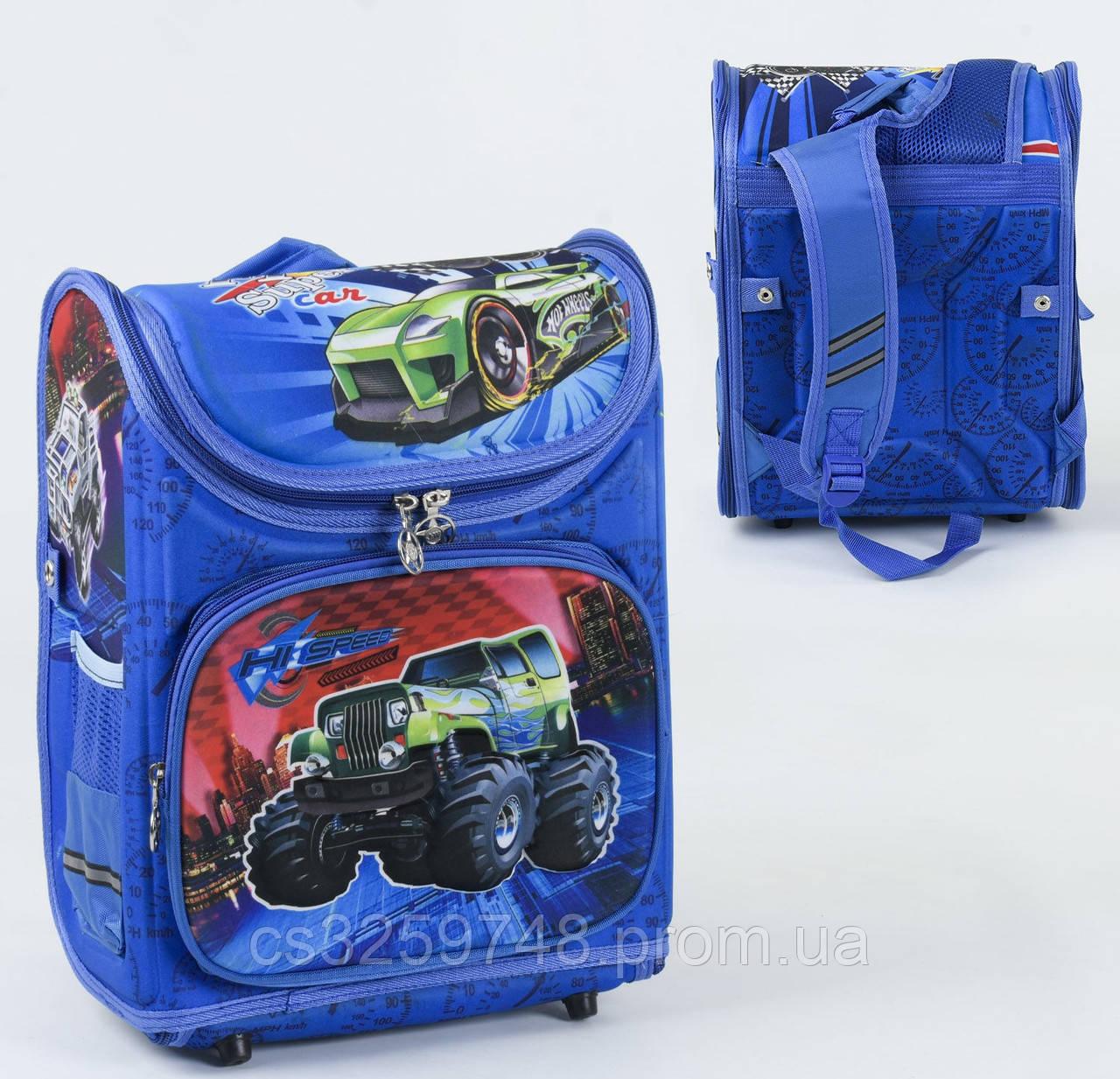 Школьный каркасный рюкзак С 36174 с ортопедической спинкой на 1 большое отделение и 3 кармана, 3D принт