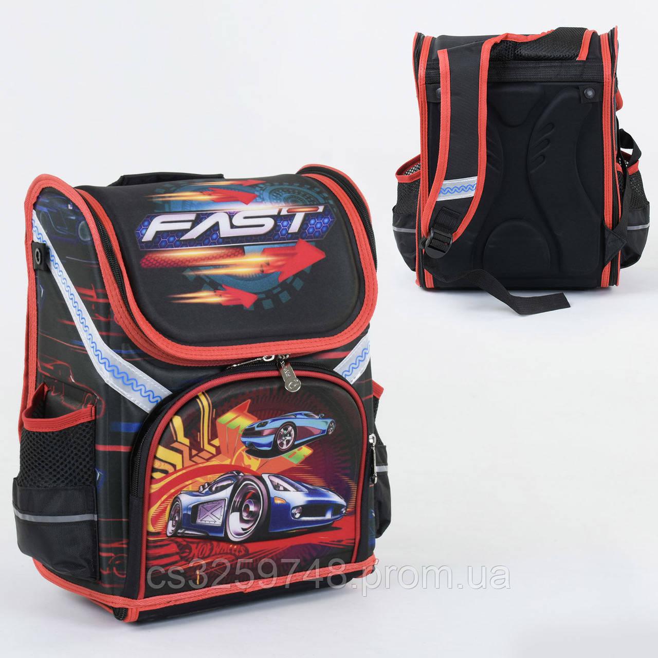 Школьный каркасный рюкзак С 36182 с ортопедической спинкой на 1 большое отделение и 3 кармана, 3D принт