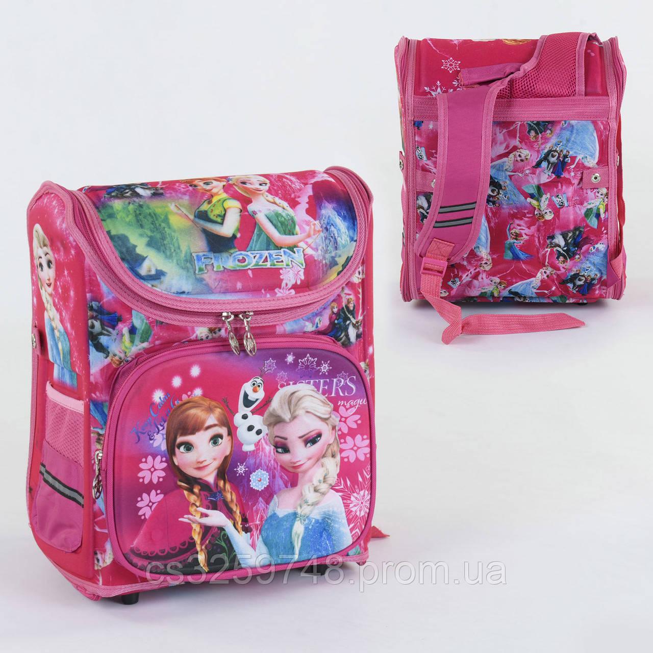 Школьный каркасный рюкзак Анна и Эльза С 36177 с ортопедической спинкой на 1 большое отделение, 3D принт