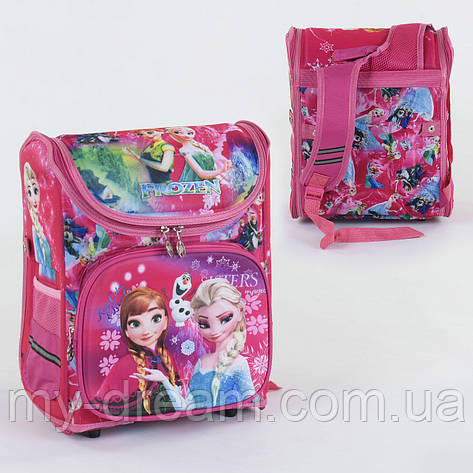 Школьный каркасный рюкзак Анна и Эльза С 36177 с ортопедической спинкой на 1 большое отделение, 3D принт, фото 2