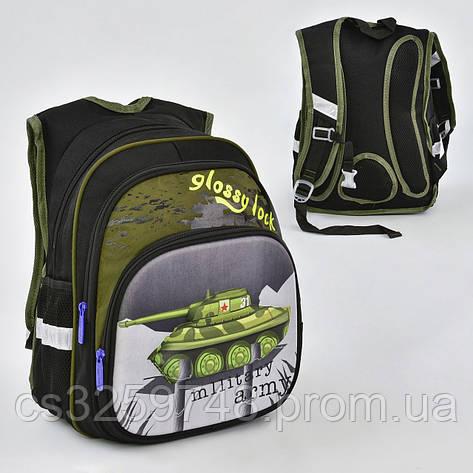 """Рюкзак школьный """"Танк"""" N 00232, 2 отделения, 3 кармана, спинка ортопедическая, зеленый, фото 2"""