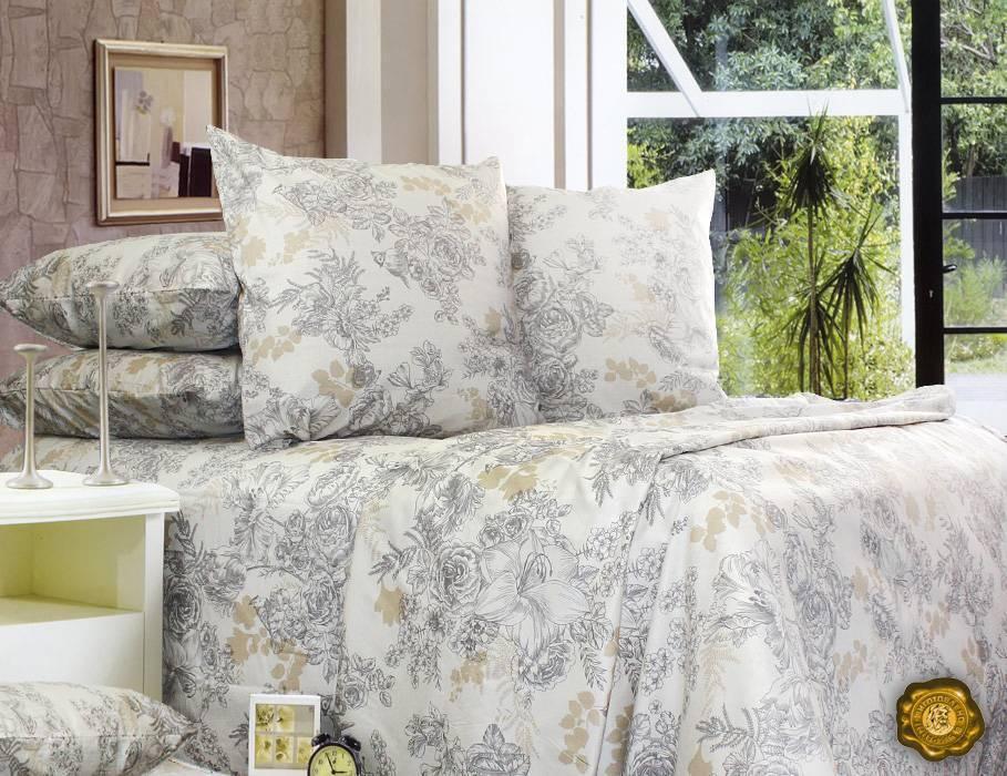 Еней-Плюс Полуторный постельный комплект С0146 Еней-Плюс, цвет: бежевый, серый