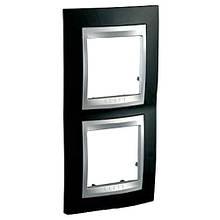 Рамка 2 пост. вертикальная Unica Top чёрный родий/алюминий MGU66.004V.093