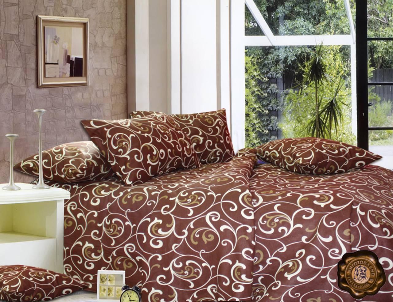 Еней-Плюс Полуторный постельный комплект Т0028 Еней-Плюс, цвет: коричневый, бежевый (кремовый)