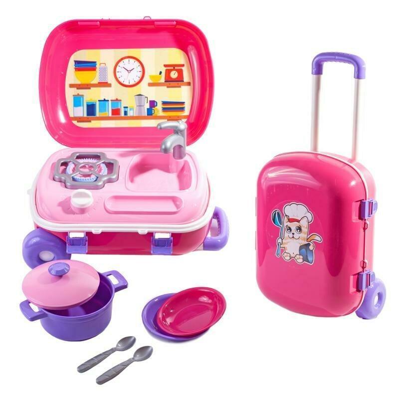 Игровой набор с посудой ТехноК Кухня в чемодане 2 в 1 Розовая (6061)