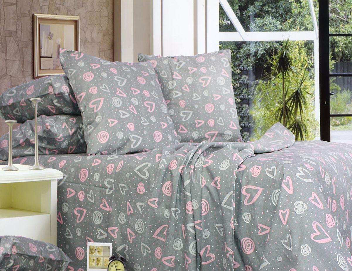 Еней-Плюс Двойной постельный комплект Р0108 Еней-Плюс, цвет: серый, розовый