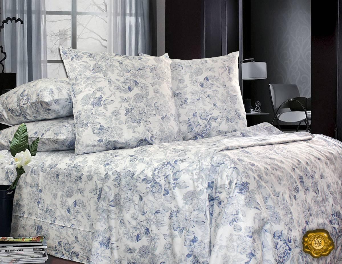 Еней-Плюс Двойной постельный комплект С0150 Еней-Плюс, цвет: синий, белый