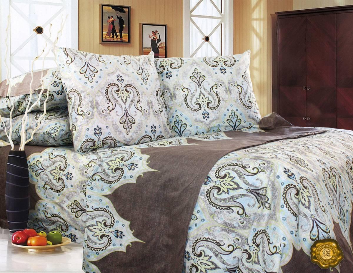 Еней-Плюс Двойной постельный комплект Т0584 Еней-Плюс, цвет: коричневый, бежевый