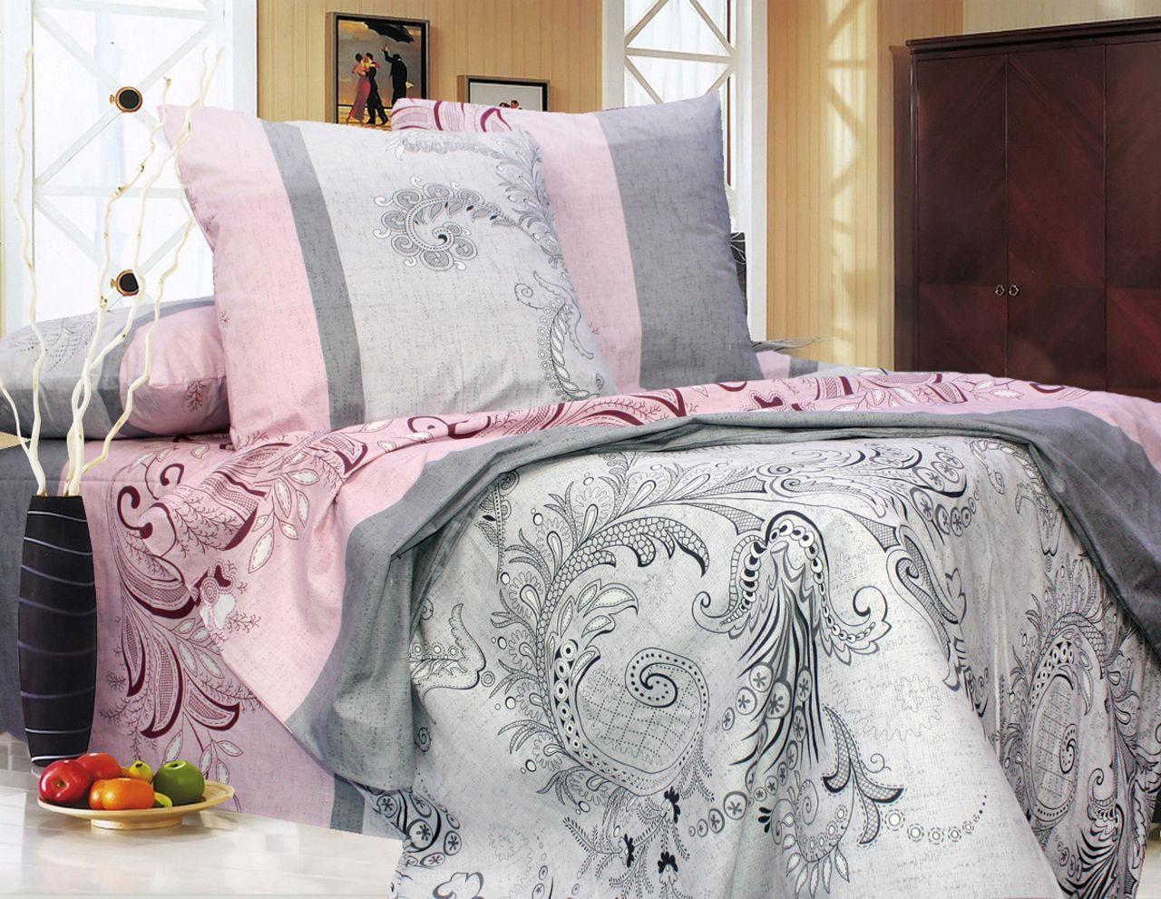 Еней-Плюс Двойной постельный комплект Т0709 Еней-Плюс, цвет: серый, розовый