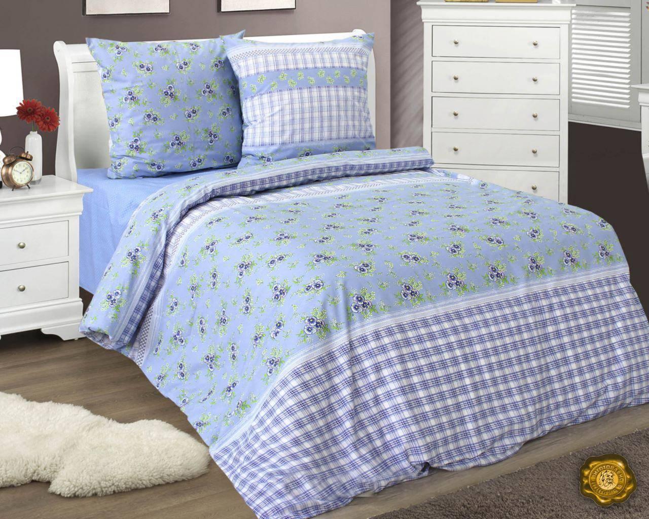 Еней-Плюс Евро постельный комплект Б0360 Еней-Плюс, цвет: голубой, белый