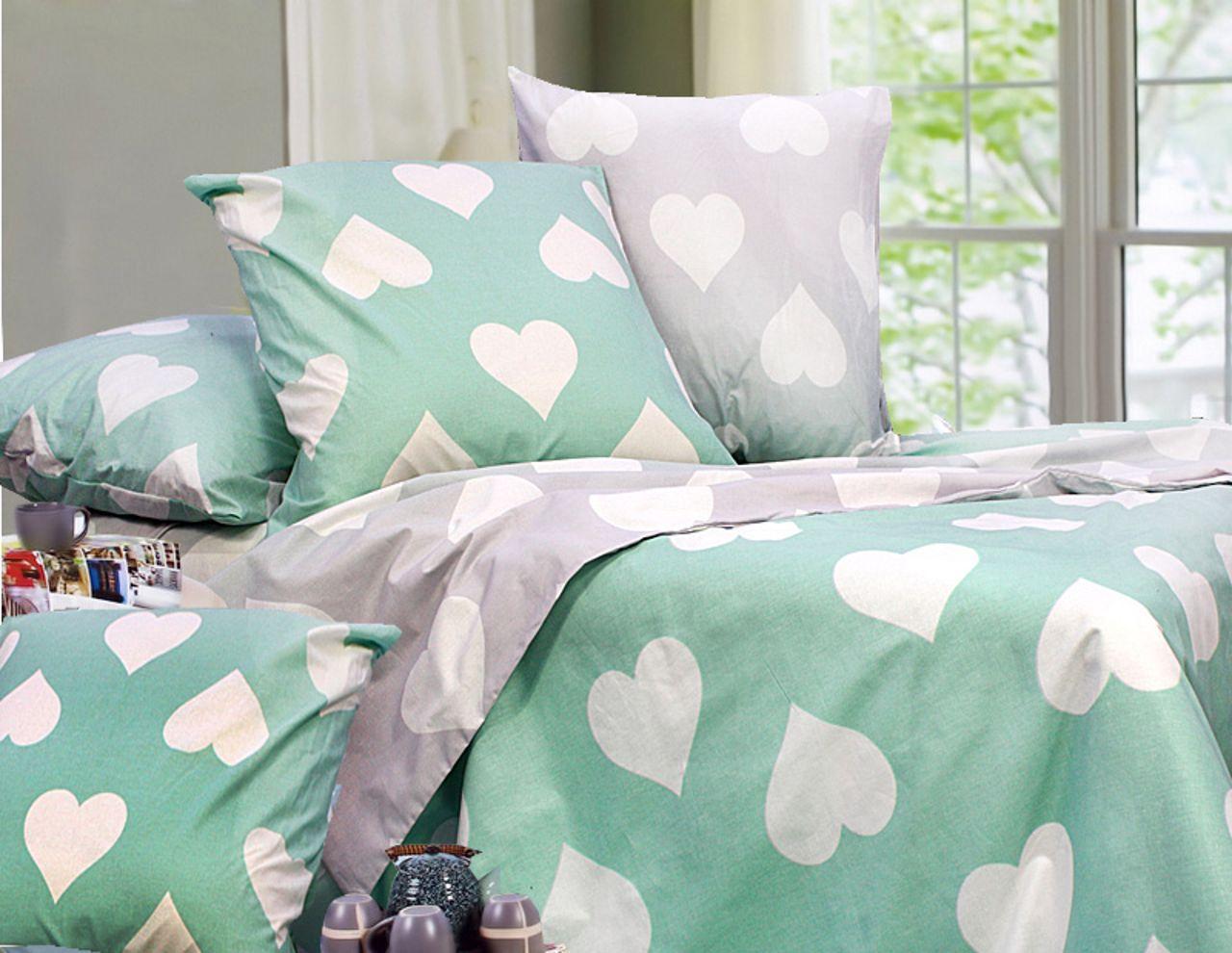 Еней-Плюс Евро постельный комплект Т0696 Еней-Плюс, цвет: бирюзовый, белый