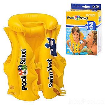 Детский надувной жилет «Pool School» Intex 58660, серия «Школа плавания», 50 х 47 см