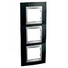 Рамка 3 пост. вертикальная Unica Top чёрный родий/алюминий MGU66.006V.093