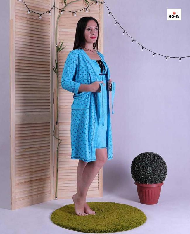 Женский комплект в роддом халат и сорочка, для беременных и кормящих мам голубой р.42-54