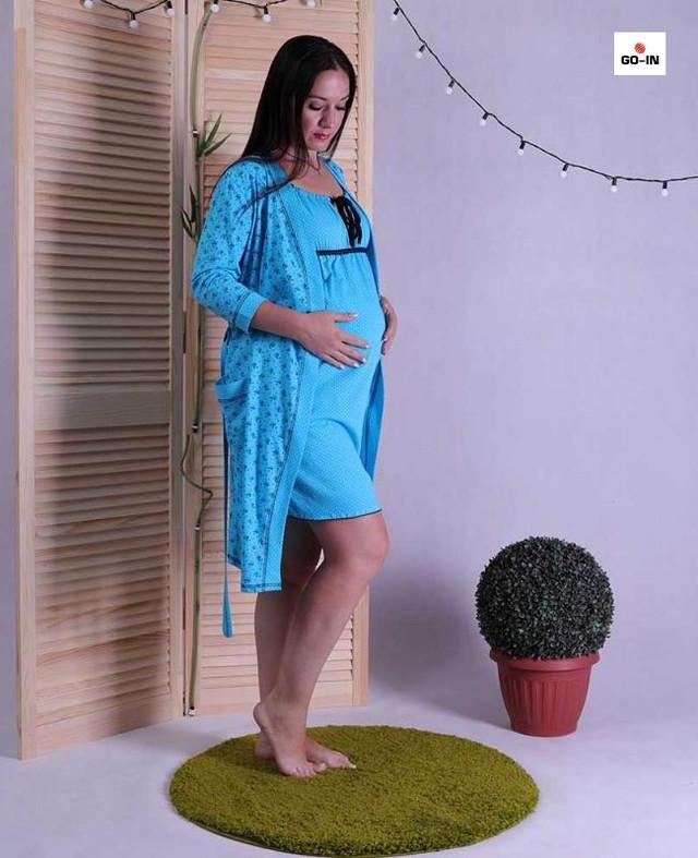 Женский комплект в роддом халат и сорочка, для беременных и кормящих мам голубой