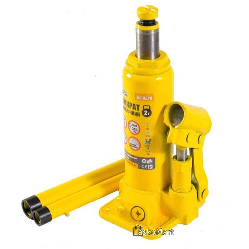 Домкрат гідравлічний пляшковий 2т, 181-345 мм Mastertool (86-0020)