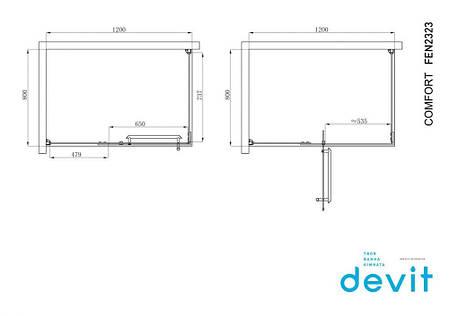 Кабіна душова, прямокутна, 120х80, без піддона, скло прозоре FEN2323 COMFORT Devit, фото 2