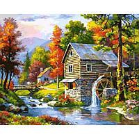 Картина раскраска по номерам на холсте 40*50см Babylon VP906 Мельница на берегу озера