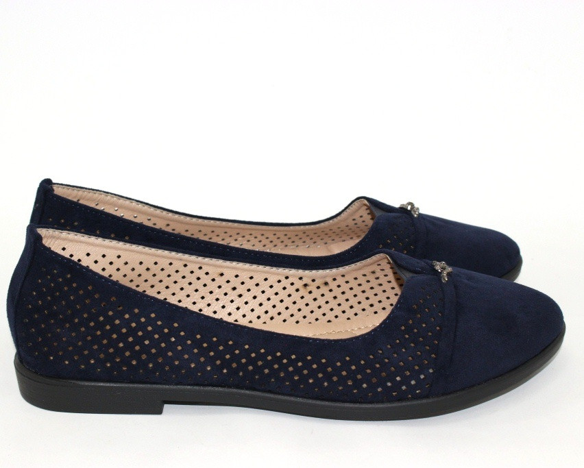 Летние женские туфли лодочки с перфорацией