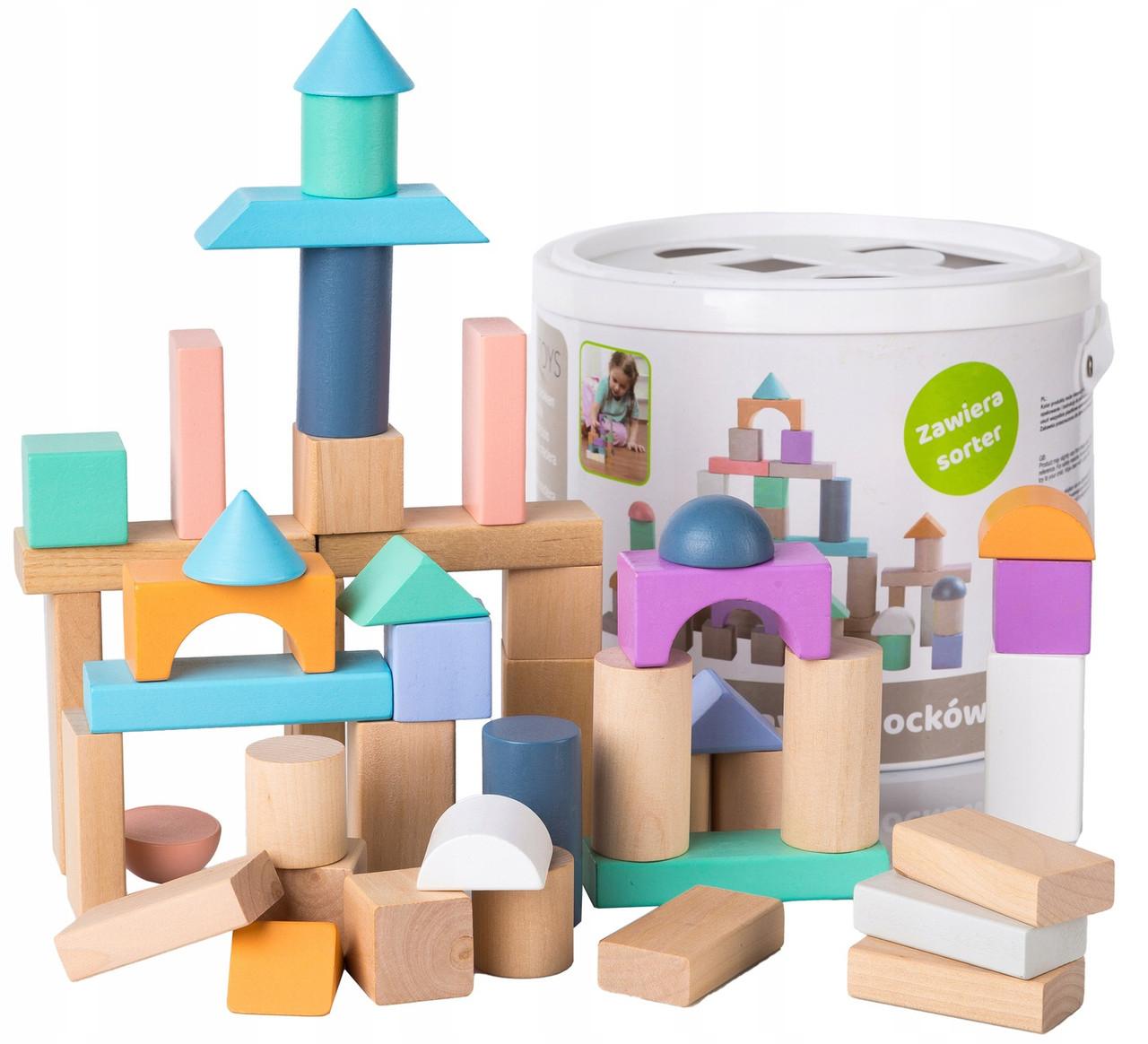 Дерев'яні блоки конструктор для дітей Ecotoys 50 шт відро + сортувальник