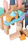 Дерев'яні блоки конструктор для дітей Ecotoys 50 шт відро + сортувальник, фото 2