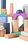 Дерев'яні блоки конструктор для дітей Ecotoys 50 шт відро + сортувальник, фото 3