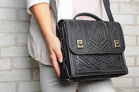 Большая кожаная сумка-портфель, чёрная сумка ручной работы из натуральної кожи, фото 1