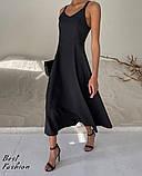 Летнее платье-комбинация на узкой бретеле с фигурной спинкой, 2цвета, Р-р.42-44, 44-46 Код 445Ц, фото 3