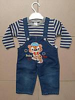Костюм-двойка  для мальчика с джинсовым комбинезоном, Новинка 2020, фото 1